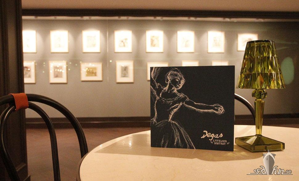 Degas-skisser på L'Atelier Bistro.